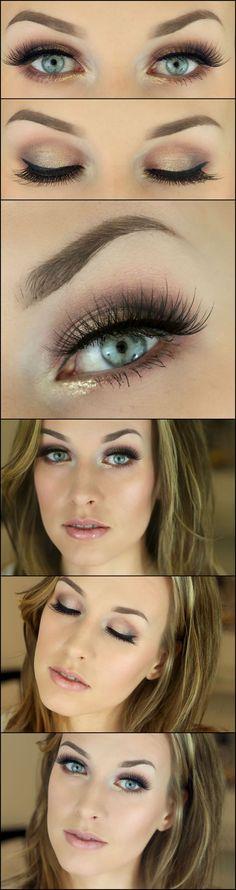 ελαφρύ #smokey eyes look Pretty Makeup, Love Makeup, Makeup Tips, Beauty Makeup, Makeup Looks, Hair Beauty, Makeup Ideas, Perfect Makeup, Day Eye Makeup