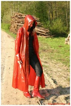 red raincoat & red riding boots