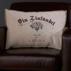 Wine-Themed Accent Pillow (Vin Zinfandel) at Wine Enthusiast - $59.95