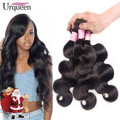 Urqueen Hair 8A Brazilian Virgin Human Hair Body Wave 3 Bundles 100% Unprocessed Human Hair Bundles Extensions Natural Color 12 14 16 Inch