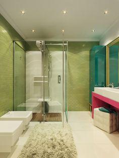 Baño Verde Y Blanco