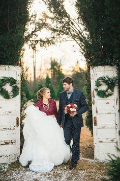 We love this gorgeous Christmas tree farm wedding inspo! #winter