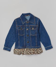 Another great find on #zulily! Brown Leopard Ruffle Denim Jacket - Toddler & Girls #zulilyfinds