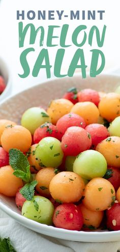 This simple Honey-Mint Melon Salad is a colorful and fresh way to celebrate summer. Best made when melons are at their peak– flavorless out-of-season fruit need not apply. #fruitsalad #summer #melonsalad #watermelon #cantaloupe #honeydew #wholefully