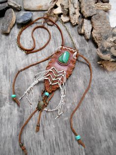 """Necklace """"NATIVE AMERICAN Pouch Medicine Bag"""" Jade Buddstone from South Africa, Leather, Natural Hemp Cord, Crow Beads"""