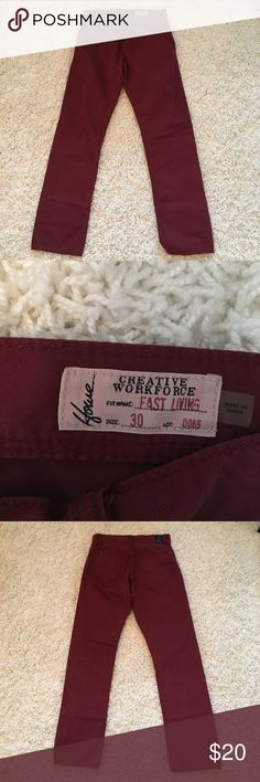 Men's Howe Fast Living Straight Leg Twill Pants Great condition.  Worn once.   100% cotton.  Five-pocket construction.  Twill construction with topstitching. Color:  Maroon. Howe Pants