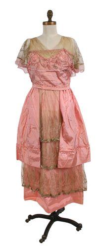 Dress, evening (woman's) c. 1914 Plain weave; Net, machine; Embroidered, machine; Applique; Embroidered Silk taffeta; Silk crepe chiffon; Silk net; Silk; Metallic thread TC 83.10-125