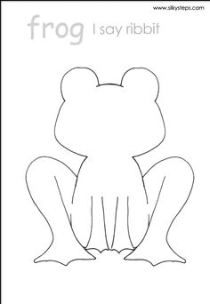 Frog outline template for lifecycle craft and collage