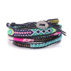 Bracelet wrap indian mixed blue