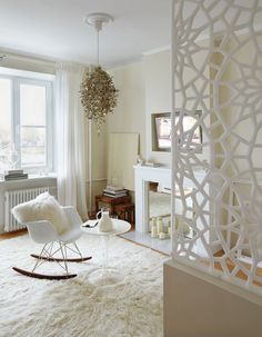 Studio apartment in a house on the waterfront, 34m ²   White, Lovely, small Living room.  admagazine