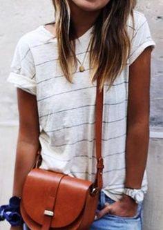 #AdoreWe #Fairy Season - #Striped Striped O-Neck T-Shirt without Necklace - AdoreWe.com