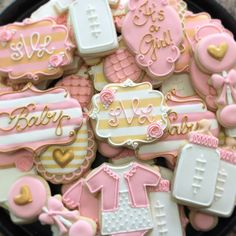 Pink and Gold Baby Shower cookies! #cookies #decoratedcookies #baby #babygirl #babyshower #customcookies #pink #gold #stripes #icingsbyang