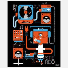 Stereo 24x30 $92.00  by Loulou & Tummie part of Wheatpaste Art Collective