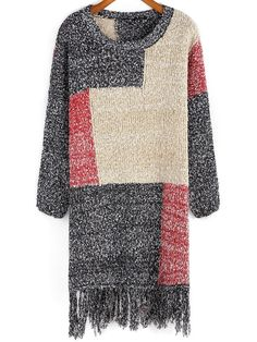 Grey Red Apricot Round Neck Tassel Sweater