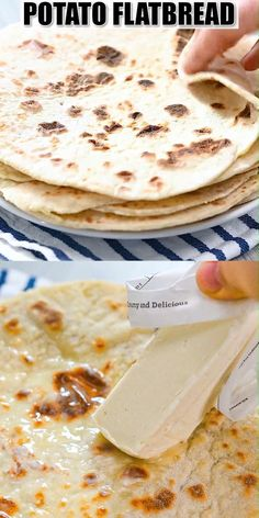 This Potato Flatbread recipe is definitely a great one to have on hand. Whether you need to use up some leftover mashed potatoes or are looking for a flatbread that's vegan and healthy, this recipe wi Potato Flatbread Recipe, Naan Recipe, Healthy Flatbread Recipes, Gluten Free Flatbread, Indian Food Recipes, Vegetarian Recipes, Low Carb Recipes, Cooking Recipes, Nana Bread Recipes