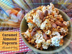Movie Night Manna – Crunchy Caramel Almond Popcorn with Coconut Oil & Honey Popcorn Recipes, Snack Recipes, Healthy Recipes, Healthier Desserts, Coconut Oil Popcorn, Sweet Recipes, Real Food Recipes, Yummy Snacks, Yummy Food