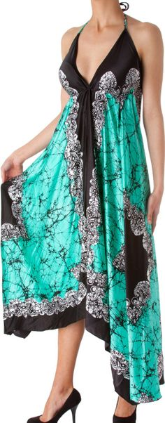 Veins Print Satin V-Neck Halter Handkerchief Hem Maxi / Long Dress http://www.amazon.com/exec/obidos/ASIN/B007NLX7SQ/hpb2-20/ASIN/B007NLX7SQ Will be buying many more colors! - The neck & chest ties on the dress are easily adjusted to make for a perfect fit. - If you like beautiful comfortable sexy dresses you will love this dress.