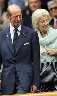 HRH The Duke of Kent, accompanied by his sister HRH Princess Alexandra of Kent on day thirteen of the Wimbledon Lawn Tennis Championships at the All England Lawn Tennis and Croquet Club on July 6, 2014 in London, England. The Duke is President of the Club, and presents the trophies to the Wimbledon champion and runner-up.