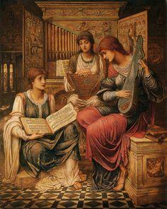 ORGANO, SALTERIO, HARP LUTE   John Melhuish Strudwick (6 May 1849 Clapham, London - 16 July 1937 Hammersmith), was a Victorian Pre-Raphaelite painter, the son of William Strudwick (1808–1861) and Sarah Melhuish (1800–1862).