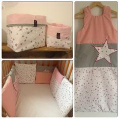 Chambre bébé fille étoile rose/gris  Création sur mesure  www.foul-art.com www.facebook.com/myfoulart