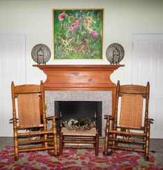 Couple of Brumby Jumbo Rockers in front of a fireplace and a Brumby Footstool used as a side table. Interior, Living Room Rocking Chairs, Chair, Home Decor, Rocking Chair, Interior Design, Fireplace, Rocking Chair Porch, Wooden Porch