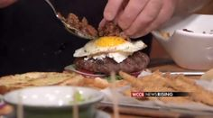 farmhouse burger with fried okra, fried egg, bacon marmalade, chiptole mayo and farmers cheese It%27s+a+Fourth+of+July+Burger+Bash%21