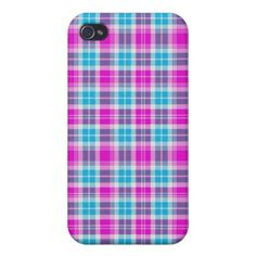 Stylish Girly Pink & Teal plaid Tartan Pern iPhone 4 Case created by Angelique_
