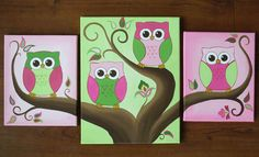 3 canvas set of pink and green owl paintings. @Charlotte Ratliff  this would be adorable for lil Stella's room!
