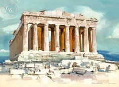 """A California art print on Arches watercolor paper. archival, and printed in HD. """"Dad wrote that he painted this of the Parthanon, the remains of a temple to the Green goddess Athena which stands Arches Watercolor Paper, Watercolor Sketch, Watercolor Paintings, Greece Drawing, Greece Painting, Ancient Greece, Ancient Ruins, Parthenon Greece, Athens Acropolis"""