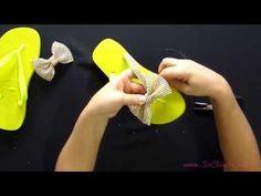 Como fazer e aplicar o laço de manta de strass no chinelo - Videoaula Sr. Chinelo - YouTube