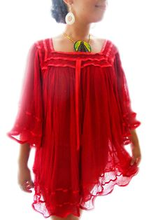 amorcito red mexican crochet tunic bell sleeves by elizabethpalmer, $75.00