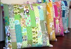 Color Strips Scrap Floor Pillows Tutorial | Sew Mama Sew | Outstanding sewing, quilting, and needlework tutorials since 2005.