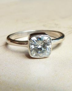 My perfect engagement ring: Cushion Cut Moissanite Engagement Ring. (:
