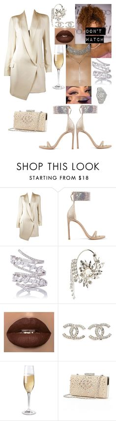 """champagne colour inspo"" by iamchania ❤ liked on Polyvore featuring Haute Hippie, Stuart Weitzman, Fallon, Givenchy, Chanel, Rolex, Wine Enthusiast and Gunne Sax By Jessica McClintock"