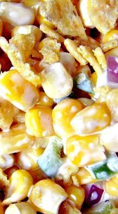 Paula Deen's Corn Salad Paula Deen's Corn Salad ❊ (read some of the suggestions for additions, changes) Mexican Crazy Corn SaladFrito Corn SaladThis Avocado Corn Salad i Mexican Food Recipes, Beef Recipes, Shrimp Recipes, Cooking Recipes, Vegan Recipes, Cooking Tips, Corn Salad Recipes, Corn Salads, Gastronomia