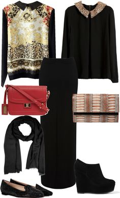 """""""variations of black maxi"""" by ilsiyar ❤ liked on Polyvore"""