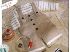 Modèle tricot layette : salopette et pull En bateau