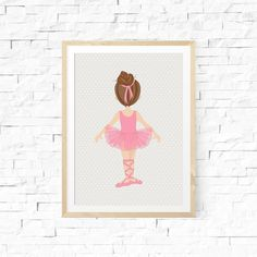 Little Ballerina Printable  PLEASE check our shops front page for coupon savings! Instant Download  Adorn your babys, or girls room with this blond ballerina print. Just print, frame and hang! It would make a cute gift too. PLEASE READ! Included in this package is:  1. Brunette ballerina in a pink tutu - 8x10 (1)  2. Brunette ballerina in black body suit - 5x7 (2)  You will receive two digital file types of JPEG and PDF for the 8x10. The two 5x7s come in a JPEG file only. It is designed at…