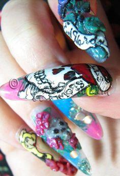 Ed Hardy Stiletto Nails