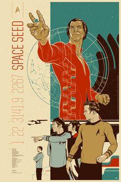 """Khaaaaaaannnnnn!!!!    Martin Ansin's poster for the classic Star Trek episode """"Space Seed."""""""