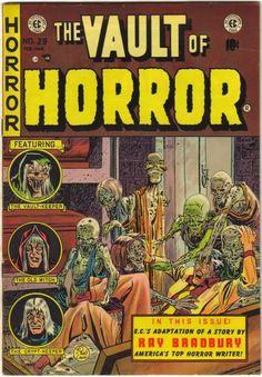 Vault of Horror EC comics- Ray Bradbury-pre-code horror Vintage Comic Books, Vintage Comics, Comic Books Art, Comic Art, Creepy Comics, Horror Comics, Horror Books, Book Cover Art, Comic Book Covers