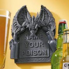 Make your home bar area epicly fun with the Design Toscano Name Your Poison Wall Plaque . The wall plaque by artist Liam Manchester shows a realistic. Decorative Wall Panels, Decorative Items, Medieval Dragon, Medieval Gothic, Dark Gothic, Home Bar Areas, 3d Wall Art, Cool Walls, Wall Sculptures