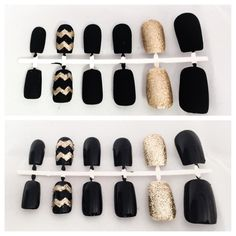Black Fake Nail Set Gold False Fingernails by LetThemSparkle