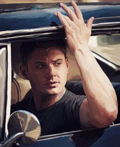 Dean in the Impala by BlackMorningX.deviantart.com on @DeviantArt