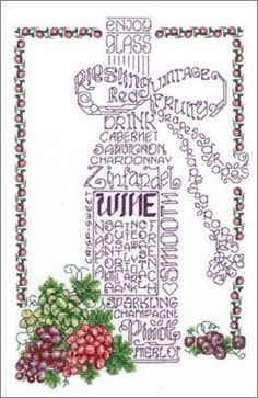 Cross Stitch Craze: Kitchen Decor Cross Stitch Patterns Enjoy Wine.