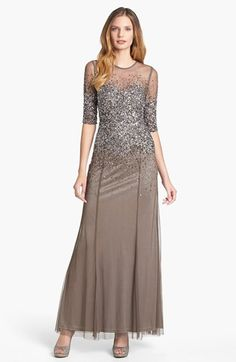 Free shipping and returns on Adrianna Papell Beaded Illusion Bodice Mesh Gown (Regular & Petite) at Nordstrom.com. Twinkling beads and sequins are scattered down the sheer mesh overlay of an elegant gown with an elongated keyhole at the back neckline.