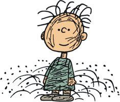 "Charlie Brown was the only one to accept Pig-Pen. Pig-Pen occasionally got clean, but it only lasted briefly. We're all dust-magnets in a way. ""Wash me thoroughly from my iniquity, And cleanse me from my sin. Charlie Brown Christmas, Charlie Brown And Snoopy, Pig Pen, Peanuts Characters, You Draw, Peanuts Snoopy, My Idol, Coloring Pages, My Favorite Things"