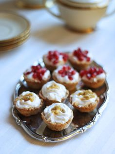 afternoon tea vegan cream cups with passion fruit and pomegranate