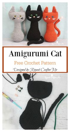 This sweet Amigurumi Halloween Black Cat Free Crochet Pattern will be a great decoration for fall. They will inspire you and any wickedly wonderful friends. Halloween Crochet Patterns, Crochet Beanie Pattern, Crochet Amigurumi Free Patterns, Crochet Dolls, Free Crochet, Cat Crochet, Crochet Animals, Crochet Stars, Crochet Food