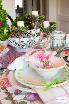 Atta Girl Says   Spring Table Setting Ideas: Pink and Green Luncheon   http://www.attagirlsays.com